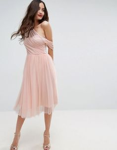 ASOS | ASOS Dobby Mesh One Shoulder Prom Dress