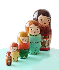 Fox Muniecas nesting dolls - OOAK