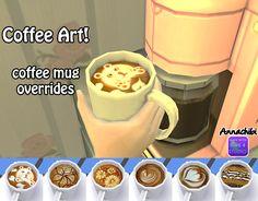 http://annachibisims.tumblr.com/post/112891147889/coffee-art-6-different-coffee-mug-overrides