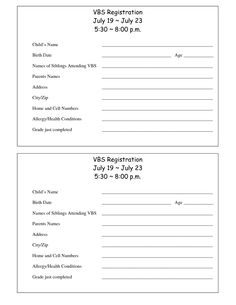 Printable VBS Registration Form Template Bible School Snacks Crafts Sample