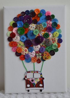 Campervan Button art hot air balloon canvas by DollybirdCrafts, £10.00