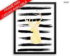 Watercolor Canvas Art Deer Printed Watercolor Living Room Art Deer Living Room Print Watercolor Framed Art Deer nursery deer watercolor deer - Physical Product #wallart #canvaswallart #framedwallart #physicalwallart