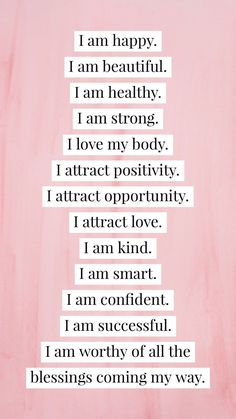 Say goodbye to negative self-talk and focus on positive thinking. Repeat this list of positive affirmations as many times a day as you want. Positive thoughts lead to positive changes. Positive Self Affirmations, Positive Affirmations Quotes, Affirmation Quotes, Affirmations For Women, Positive Thoughts Quotes, Morning Affirmations, Positive Morning Quotes, Positive Quotes For Women, Positive Mantras