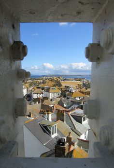 Rooftop view over the beautiful port of St Ives in Cornwall, England