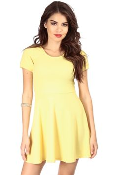 Yellow Fun Short Sleeve A Line Dress @ Cicihot sexy dresses,sexy dress,prom dress,summer dress,spring dress,prom gowns,teens dresses,sexy party wear,ball dresses