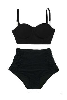 High Waist Waisted Bikini set Swimsuit, Black Underwire Midkini Top and Ruched Vintage Retro Bottom Two piece Swimwear Bathing suit S M L XL by venderstore on Etsy