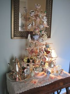 Tea Themed Tree ..Could be a Cute Decoration on a Table for A Tea Party ..you could put it in the center of the table as a centerpiece as well