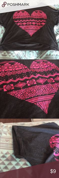 Crop top Cop top, I'm not sure what brand. It has a pink heart design. Feel free to leave an offer! ;) Tops Crop Tops