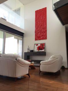 Sala con toque color rojo