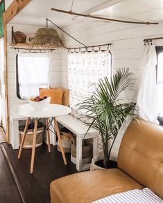 See how a couple transformed their outdated RV into a boho surf shack! remodel boho Lithuanian Handmade Nautical Bracelets & Accessories by Shkertik Airstream Interior, Cafe Interior, Interior Design, Interior Ideas, Van Living, Home And Living, Caravan Vintage, Vintage Rv, Surf Shack