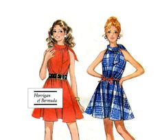 Mod Go Go Tent Dress Sewing Pattern Vintage Easy Sew Roll Collar Halter Mini Dress McCalls 2302 Bust 32