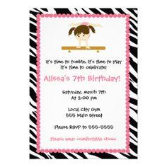 Gymnastic Birthday Party Invitation Zebra