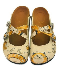Crisscrossing straps and an artistic motif bring pretty personality to this comfy pair of slip-on shoes. Cat Shoes, Shoe Boots, Slip On Mules, Kinds Of Shoes, Fashion Art, Color Pop, Take That, Footwear, Pairs