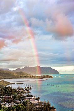 Beautiful rainbow over Kaneohe Bay, Oahu