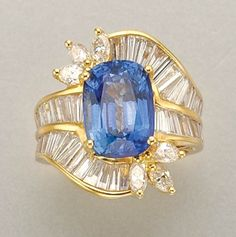 Sapphire and Diamond Ring for Sale at Auction on Wed, - - Important Estate Jewelry Jewelry Box, Jewelry Rings, Jewelry Accessories, Fine Jewelry, Jewlery, Jewelry Design, Diamond Solitaire Rings, Diamond Engagement Rings, Baguette Diamond