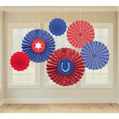 Bandana Western Paper Fan Decorations 6pc