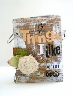 A cardboard mini album - Things I like (good idea of theme for albums to send to sponsor kids)