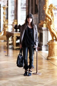 leather accent leggings + brown leather strap boot + stud and tie detail shrug top + chunky knit cardigan + oversize leather bag Chunky Knit Cardigan, Vivienne Westwood, Panama, Stylish Outfits, Leather Bag, Brown Leather, Combat Boots, Shoe Boots, Street Style