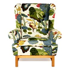 Wing Chair by Svenskt Tenn This would be great in my living room! Furniture Makeover, Furniture Decor, Patterned Armchair, Love Chair, Wing Chair, Take A Seat, Upholstered Furniture, Room Inspiration, Upholstery