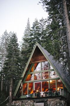 My Dad and I built my first A-frame house together. Looked so much like this one. We had planned to hang christmas lights and put a star at the top of the house with huge wrapped presents at the base so it would resemble a christmas tree. There was an airport nearby and he wanted people in the planes to see it.