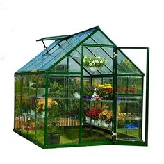 Palram Harmony 6 ft. x 8 ft. Polycarbonate Greenhouse in Green-701550 - The Home Depot