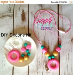 Baby Pink donut bead DIY Necklace Kit by SimplySparkleSupply