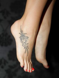 Small Flower Tattoos on Girl's Feet