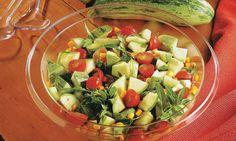 Receita de Salada de abobrinha e tomate-cereja - Salada - Dificuldade: Fácil - Calorias: 215 por porção