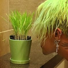 GD having a staring competition with his plant form ❤ #Bigbang