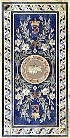 Francesco BELLONI (Rome, 1772 - Paris, 1863) Table 1814 et 1824 - 1828 Paris Marbre jaune de Sienne incrusté de lapis-lazuli, améthyste, cornaline, jaspe | Musée du Louvre | Paris