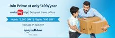 Amazon  Get a Makemytrip Rs 2200 Hotels Gift Voucher on Amazon Prime subscription of Rs 499