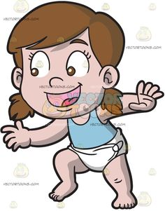 A Happy Baby Girl Trying To Walk :  A baby girl with brown hair in low pigtails wearing a light blue tank top and white diaper parts her lips to smile in delight while walking  The post A Happy Baby Girl Trying To Walk appeared first on VectorToons.com.