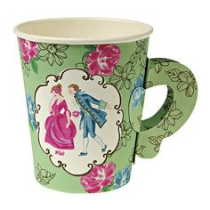 Delightfully pretty, and so unusual, these Vintage Tea Party paper cups have a folding handle and a Marie Antoinette inspired design.