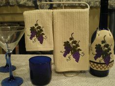 Bar Towel Set With Wine Bottle ApronGrapes Motif by VictorianTheme, $10.00