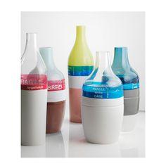 Hella Jongerius Long Neck and Groove Bottles Year: 2000 Material: Porcelain, glass, plastic tape Ceramic Tableware, Ceramic Pottery, Vases, Design Industrial, Try To Remember, Design Blogs, Handmade Furniture, Color Inspiration, Glass Art