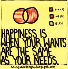 Things We Forget: 901: Happiness is when your wants are the same as your needs.