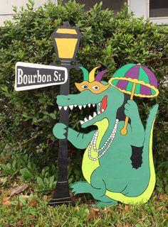 Mardi Gras Gator Yard Art by Berwickbay on Etsy