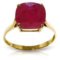 Genuine Ruby Cushion Cut Gemstone Solitaire Ring in 14k Yellow White Rose Gold | eBay