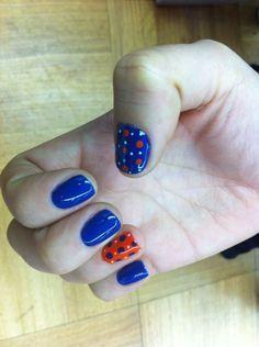 Blue and orange nails