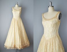 Vintage+50s+Dress+//+1950s+Champagne+Lace+by+OffBroadwayVintage