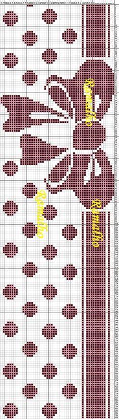 Bow and polka dot x-stitch Crochet Cross, Crochet Chart, Filet Crochet, Knitting Charts, Knitting Stitches, Knitting Patterns, Diy Embroidery, Cross Stitch Embroidery, Cross Stitch Patterns