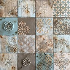 Get inspired by the wealth of beauty in colors and patterns in these old (and new) tiles: Slab Ceramics, Clay Tiles, Handmade Tiles, Slab Pottery, Tile Patterns, Floral Patterns, Tile Design, Ceramic Art, Home Deco