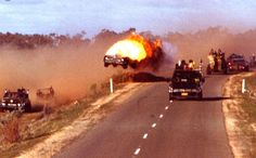 Car ablaze in mid-air. Mad Max 2, The Road Warriors, Going Insane, Post Apocalyptic, The Rock, Max Movie, Behind The Scenes, Cinema, Movie Scene
