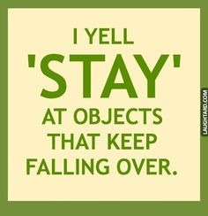 I yell stay at objects that keep falling over #funny #haha #lol #laughtard #funnypics #stay