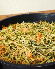 stuttgartcooking: Spaghettini mit Bärlauch-Pesto und geräuchertem Lachs