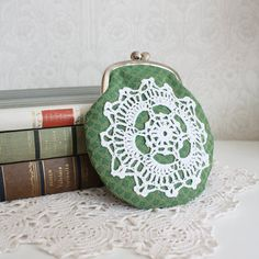 coin purse with vintage crocheted lace, green