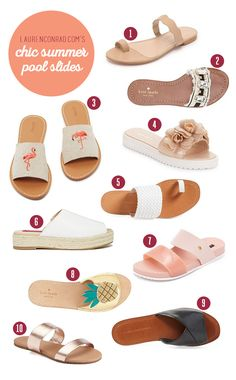 Tuesday Ten Chic Pool Slides to Wear All Summer Long is part of Sandals - The official site of Lauren Conrad is a VIP Pass Here you will get insider knowledge on the latest beauty and fashion trends from Lauren Conrad Flat Sandals Outfit, Cute Sandals, Leather Sandals, Slide Sandals, Summer Sandals, Flat Shoes, Shoes Sandals, Pool Shoes, How To Make Shoes