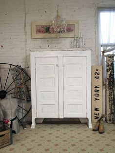 Painted Cottage Shabby White Farmhouse Cupboard
