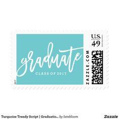 Turquoise Trendy Script | Graduation Postage
