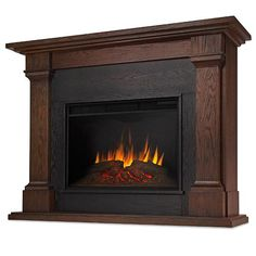 Real Flame Callaway Grand Electric Fireplace With Mantel - Chestnut Oak Electric Fireplace With Mantel, Indoor Electric Fireplace, Gel Fireplace, Fireplace Design, Fireplace Mantels, Electric Fireplaces, Media Fireplace, Mantles, Fireplace Ideas